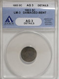 Early Half Dimes, 1803 H10C Large 8--Damaged, Bent--ANACS. AG3 Details....