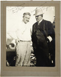 Boxing Collectibles:Autographs, 1911 Barney Oldfield & Jim Jeffries Signed Large Photograph. The first man to drive a car a mile a minute poses with the bo...
