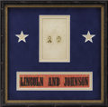 Political:Ribbons & Badges, Lincoln & Johnson: Silk Horizontal Ribbon or Armband, Nicely Framed With a Rare Jugate Carte de Visite....