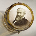 Political:3D & Other Display (pre-1896), Benjamin Harrison: Gorgeous Glass Box with Hinged Lid Featuring a Reverse-on-Glass Portrait....