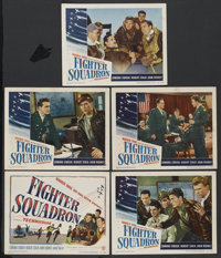 "Fighter Squadron (Warner Brothers, 1948). Title Lobby Card and Lobby Cards (4) (11"" X 14""). War.... (Total: 5..."