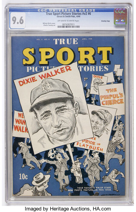 True Sport Picture Stories V2#6 Crowley Copy pedigree (Street & Smith, 1944) CGC NM+ 9.6 Off-white to white pages....