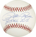 "Autographs:Baseballs, Pete Rose ""Hit King 4256"" Single Signed Baseball. To collect morehits than any other man in the sport was no small feat, o..."
