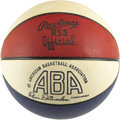 Basketball Collectibles:Balls, 1975-76 ABA Game Used Basketball. Who could forget the sight of Dr. J driving to the hoop with an afro as big as a prize-wi...