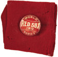 "Baseball Collectibles:Others, 1912 Boston Red Sox World Series Pinback & Sock. ""As I look back upon the 1912 series, when we lost to the Boston Red Sox, ..."