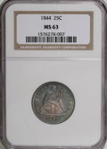 Seated Quarters, 1844 25C MS63 NGC....