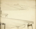 "Animation Art:Production Drawing, ""Steamboat Willie"" Dock Background Original Art (Disney, 1928)....(Total: 2 Items)"