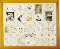 Original Comic Art:Sketches, Famous Comic Strip Cartoonist Sketch and Signature Group (undated)....