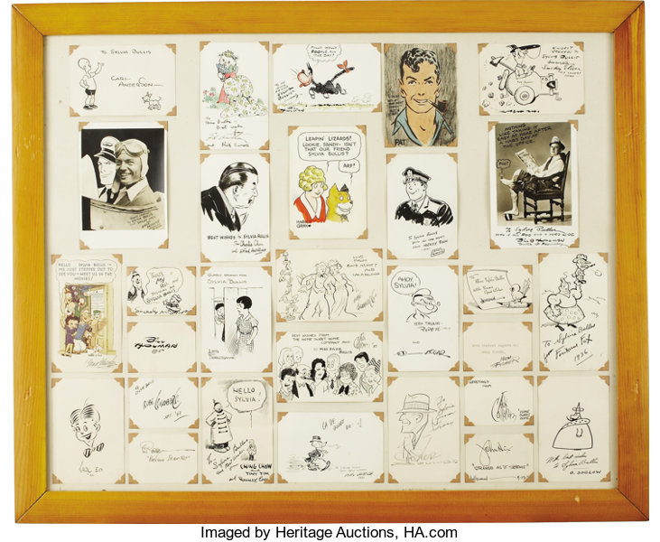 ... Original Comic Art:Sketches, Famous Comic Strip Cartoonist Sketch and  Signature Group(undated ...