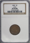 Patterns: , 1866 5C Five Cents, Judd-462, Pollock-536, Low R.7, PR64 Brown NGC. . NGC Census: (3/0). PCGS Population (0/1). (#60657)...