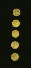 "California Gold Charms, Quintet of California ""Eureka"" Quarter Dollar-Size Gold Charms.... (Total: 5 pieces)"
