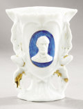 Political:3D & Other Display (pre-1896), Abraham Lincoln: Elegant Miniature Vase, Civil War Period, with Bearded Portrait....