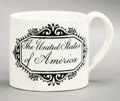 Political:3D & Other Display (pre-1896), American Eagle: Early Miniature Ceramic Patriotic Mug. ...