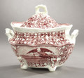 Political:3D & Other Display (pre-1896), American Eagle: Victorian Cranberry White China Sugar Bowl....