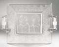 Political:3D & Other Display (pre-1896), Cleveland & Hendricks: Frosted Glass Bread Plate...