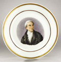 Political:3D & Other Display (pre-1896), James Monroe: Colorful Early Paris Porcelain Plate...