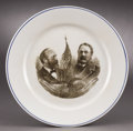 Political:3D & Other Display (pre-1896), Garfield & Arthur: Rare Jugate Dinner Plate from the 1880Election. ...