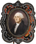 Political:3D & Other Display (pre-1896), George Washington: Signed Victorian Hand-Painted Ivory Portrait in Original Colorful Ornate Frame....