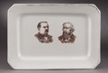 Political:3D & Other Display (pre-1896), Cleveland & Thurman: Rare, Massive Jugate Platter from the 1888 Campaign....