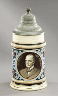 """Political:3D & Other Display (1896-present), William McKinley: Colorful """"Mac Kinley"""" Lidded Stein..."""