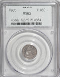 Seated Half Dimes, 1865 H10C MS62 PCGS....