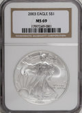 Modern Bullion Coins: , 2003 $1 Silver Eagle MS69 NGC. . PCGS Population (8069/0).Numismedia Wsl. Price for NGC/PCGS coin in M...