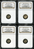Proof Roosevelt Dimes, (4) 2001-S 10C Clad PR 70 Deep Cameo NGC. ... (Total: 4 coins)