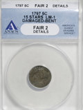 Early Half Dimes, 1797 H10C 15 Stars--Damaged, Bent--ANACS. Fair 2 Details....