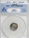 Early Half Dimes, 1795 H10C --Bent, Damaged--ANACS. AG3 Details....
