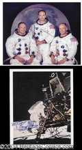 Autographs, Apollo 11 Crew Signed Lot Armstrong Aldrin +