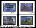 Autographs, Aviation Pioneers Signed Litho Set Cessna +