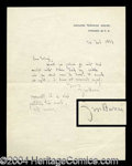 Autographs, Sir James Barrie Handwritten Letter Signed