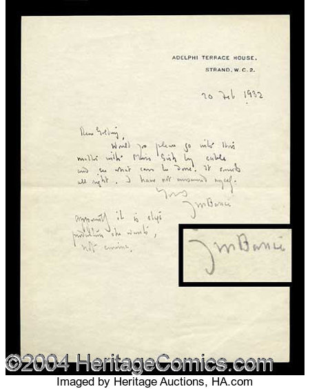 jm barrie letter to peter