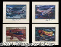 Autographs, Pappy Boyington Signed Set of 4 Lithographs