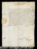 Autographs, King Charles V Signed Document from 1500's!