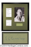 Autographs, E.E. Cummings Rare Signature Display