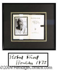 Autographs, Robert Frost Rare Signed Poetry Book