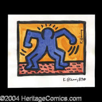 Keith Haring Beautiful Original Artwork - A spectacular piece from one of the greatest pop-culture artists in history, p...
