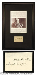Autographs, William D. Howells Framed Signature