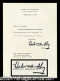 Autographs, Hubert Humphrey Typed Letter Signed VP
