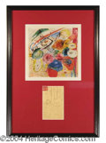 Autographs, Wassily Kandinsky Signed Postcard Display