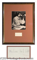 Autographs, Helen Keller Pencil Signature Framed Display