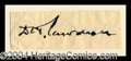 Autographs, D.H. Lawrence Ink Signature