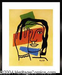 Fernand Leger Hand Signed Litho c. 1953 - Original 1953 20 x 25 color lithograph, bearing a stone signature of Leger in...