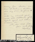 Autographs, King Leopold II Handwritten Letter Signed