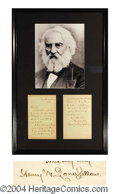 Autographs, Henry Wadsworth Longfellow ALS Signed Framed