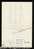 Autographs, Benito Mussolini & Emmanuel Signed Document