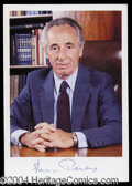 Autographs, Shimon Peres Signed Photograph