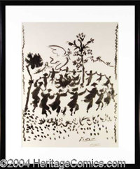 """Pablo Picasso Signed Dance of Peace Litho - Large and impressive 19.5 x 25.5 lithograph titled """"Dance of Peace""""..."""