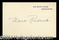 Autographs, Eleanor Roosevelt Signed White House Card